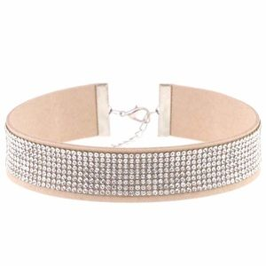 Jewelry - Choker beige vegan leather rhinestone